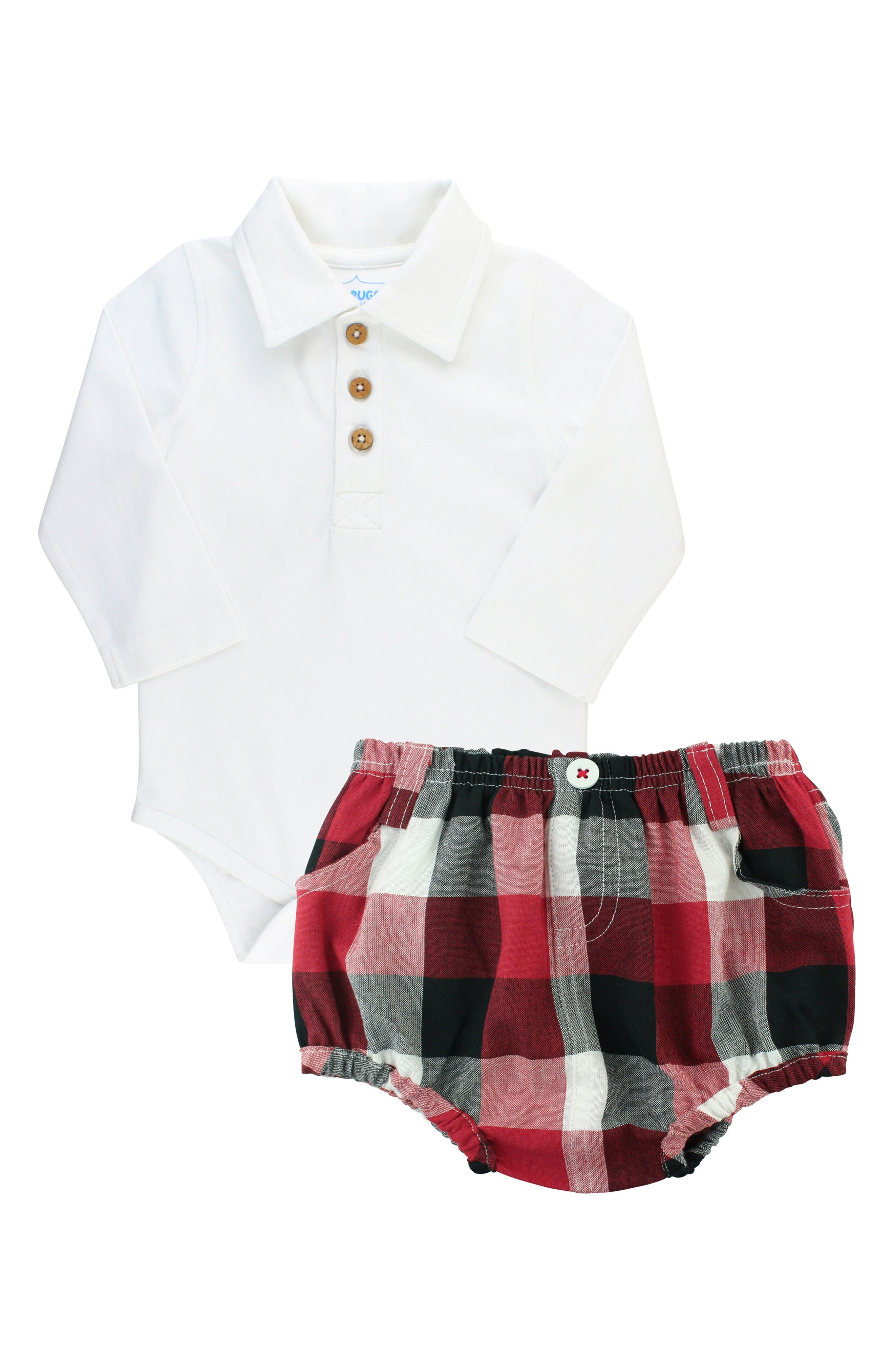 Infant Boys Ruggedbutts Polo Bodysuit  Check Shorts
