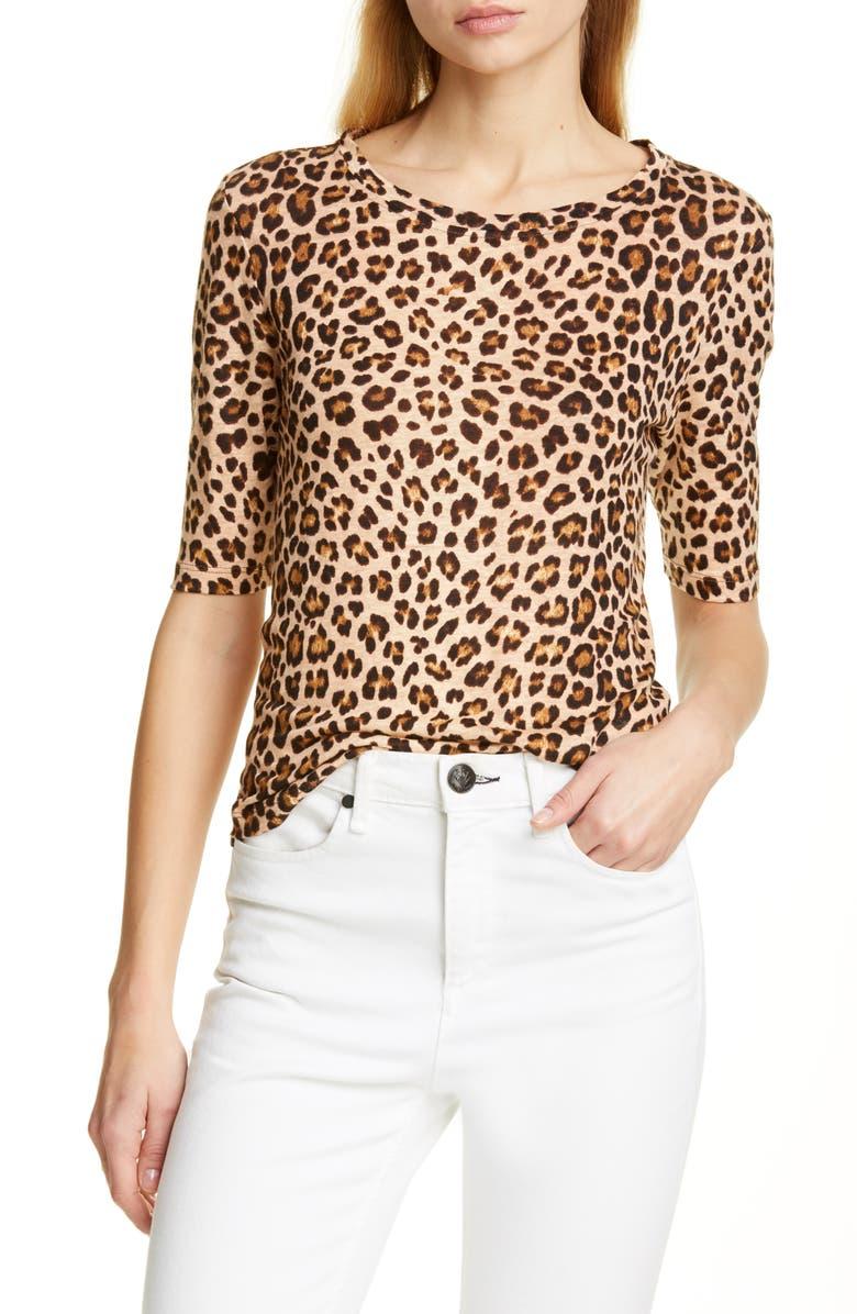 REBECCA TAYLOR Leopard Print Linen Slub Jersey Top, Main, color, 250