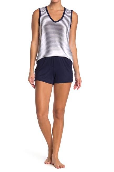 Image of Nautica Striped Tank & Solid Shorts 2-Piece Pajama Set