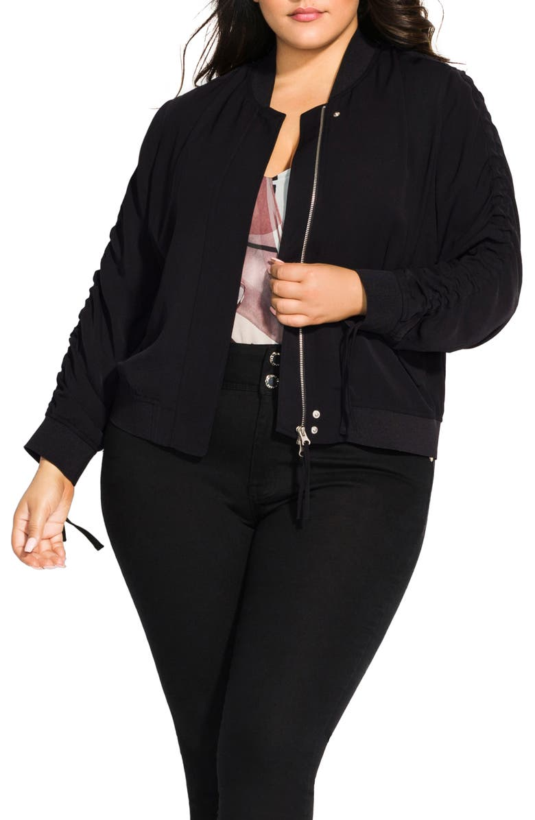 f6aac8827 City Chic Ruched Sleeve Bomber Jacket (Plus Size) | Nordstrom