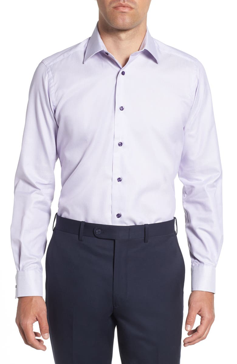 DAVID DONAHUE Trim Fit Dress Shirt, Main, color, LILAC