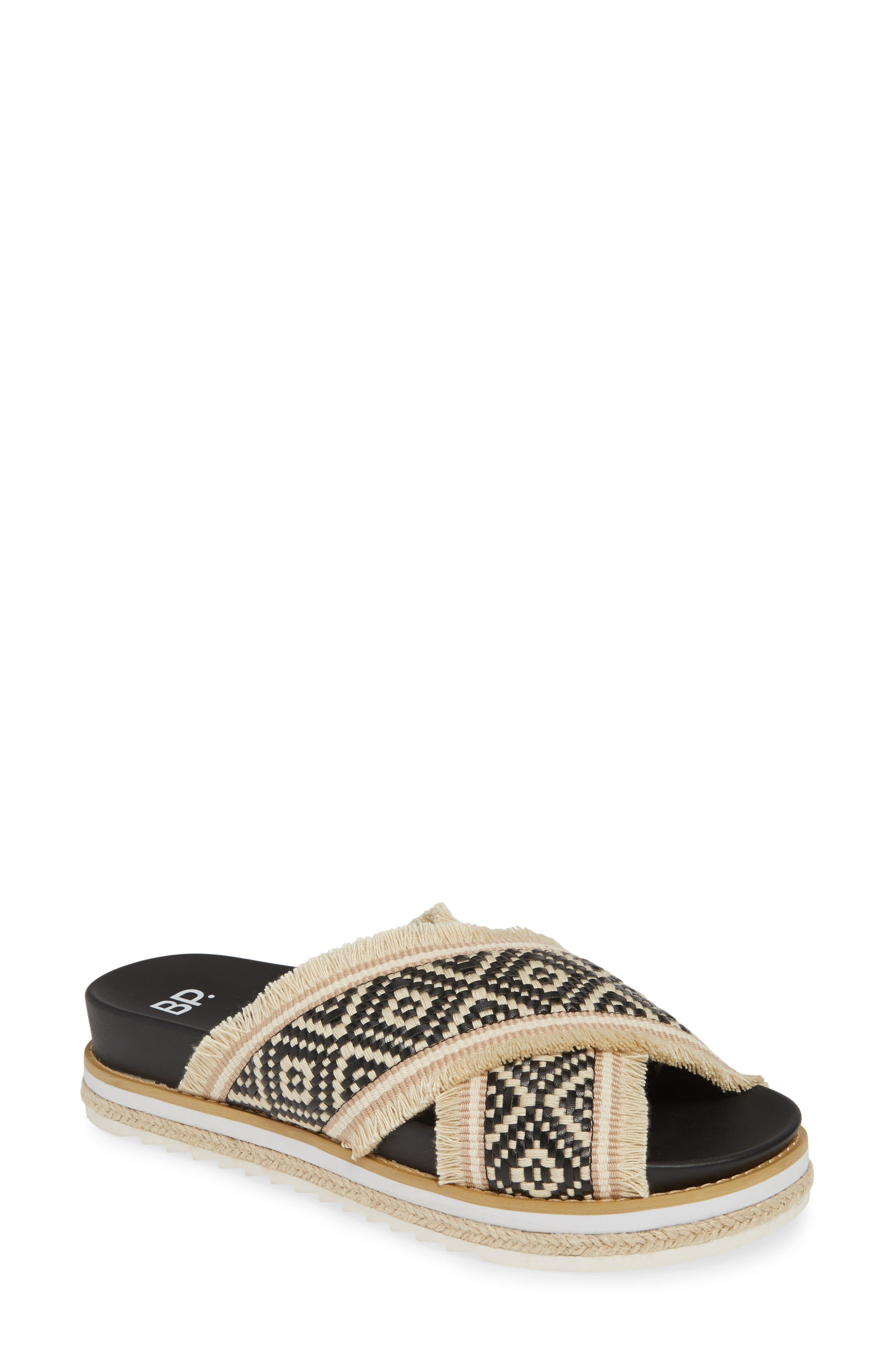 Booker Slide Sandal, Main, color, BLACK WOVEN