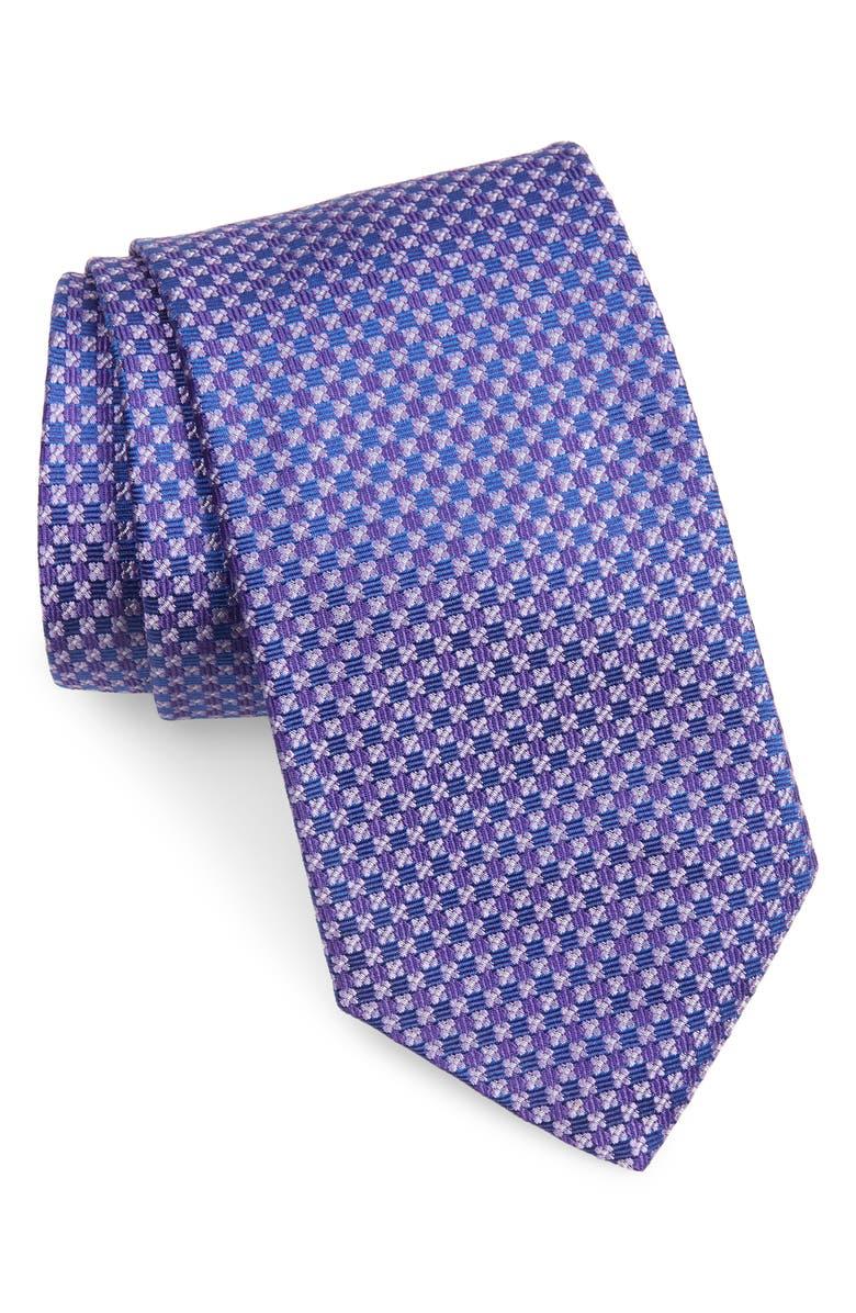 DAVID DONAHUE Geometric Silk Tie, Main, color, PURPLE