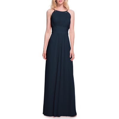 #levkoff Low Back Pleated Chiffon Gown, Blue
