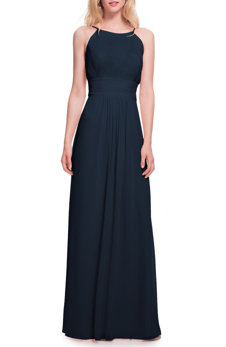 #LEVKOFF Low Back Pleated Chiffon Gown, Main, color, NAVY