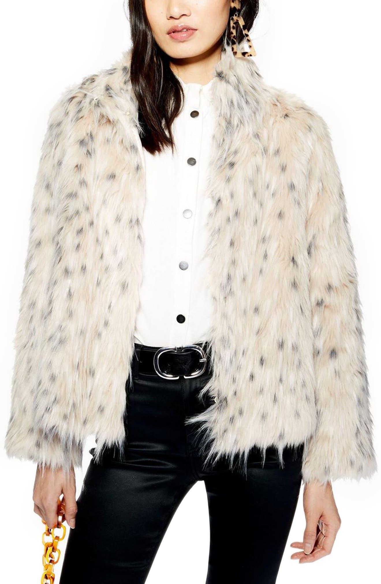 ,                             Patsy Snow Leopard Faux Fur Jacket,                             Alternate thumbnail 4, color,                             001
