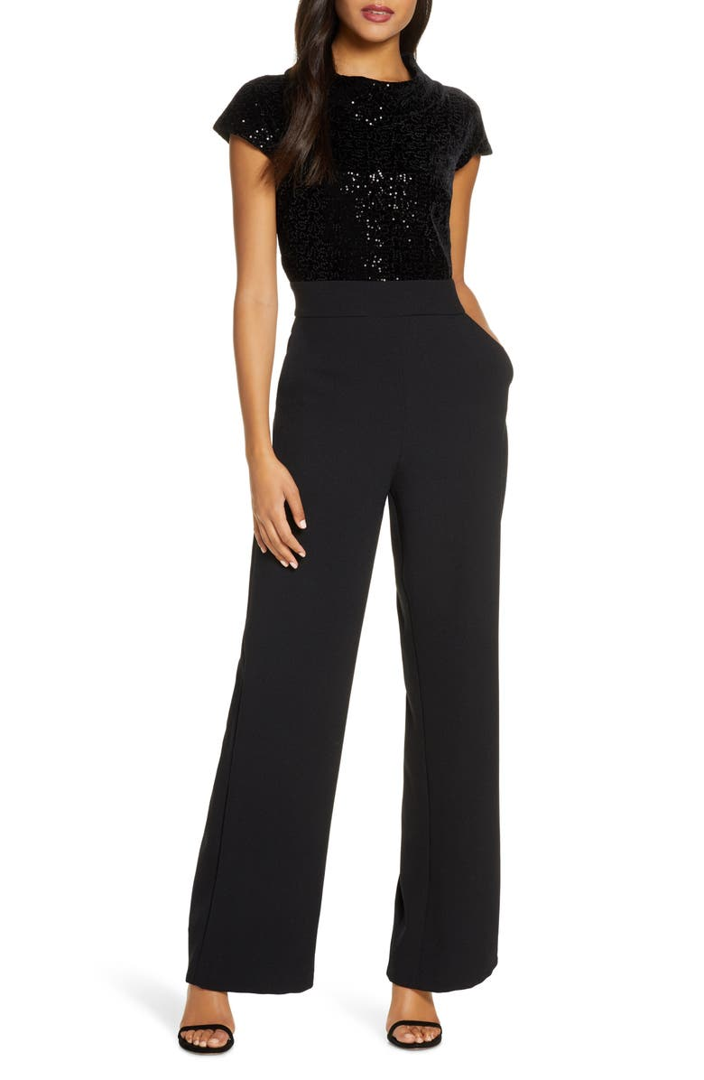 HARPER ROSE Sequin Bodice Jumpsuit, Main, color, BLACK