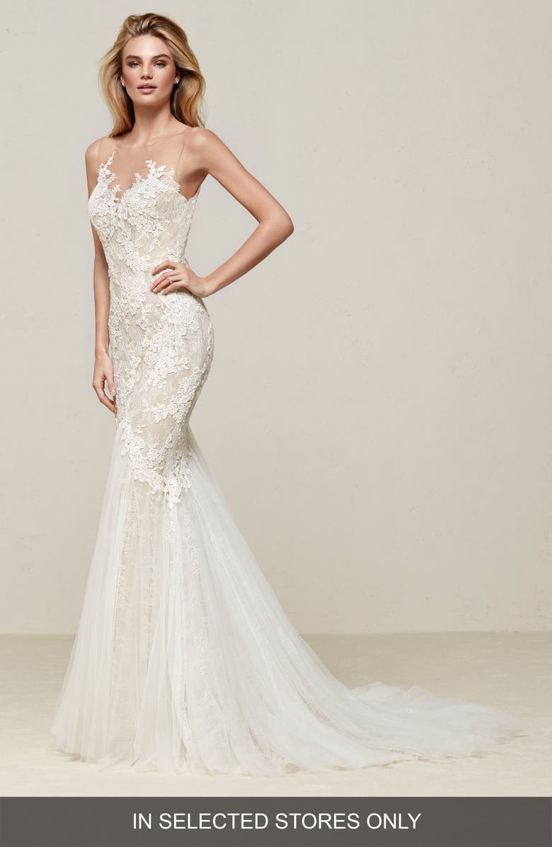 PRONOVIAS Drinam Lace & Tulle Mermaid Gown, Main, color, OFF WHITE