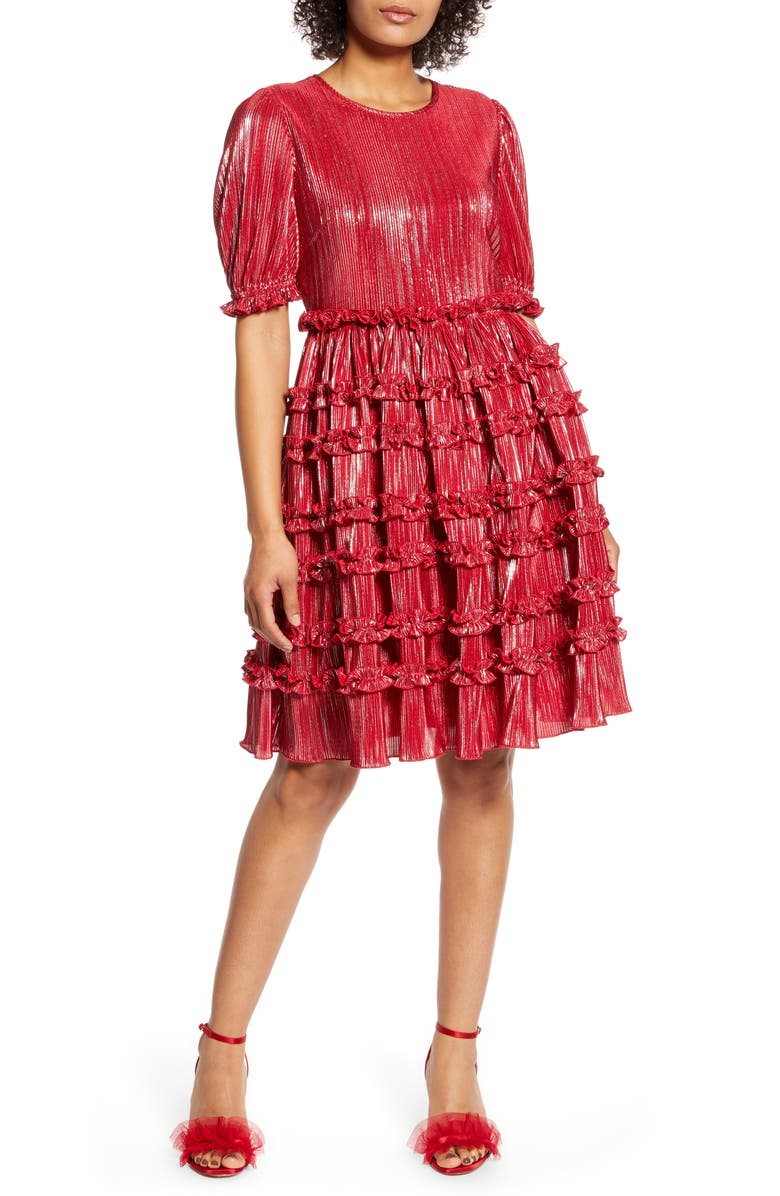 HALOGEN<SUP>®</SUP> x Atlantic-Pacific Ruffle Plissé Dress, Main, color, RED CHILI