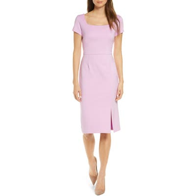 Forest Lily Square Neck Sheath Dress, Pink
