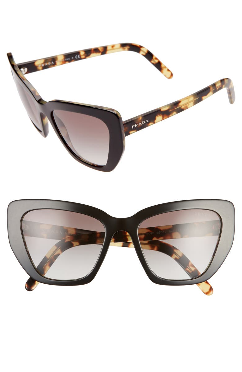 PRADA 55mm Gradient Cat Eye Sunglasses, Main, color, BLACK/ GREY GRADIENT