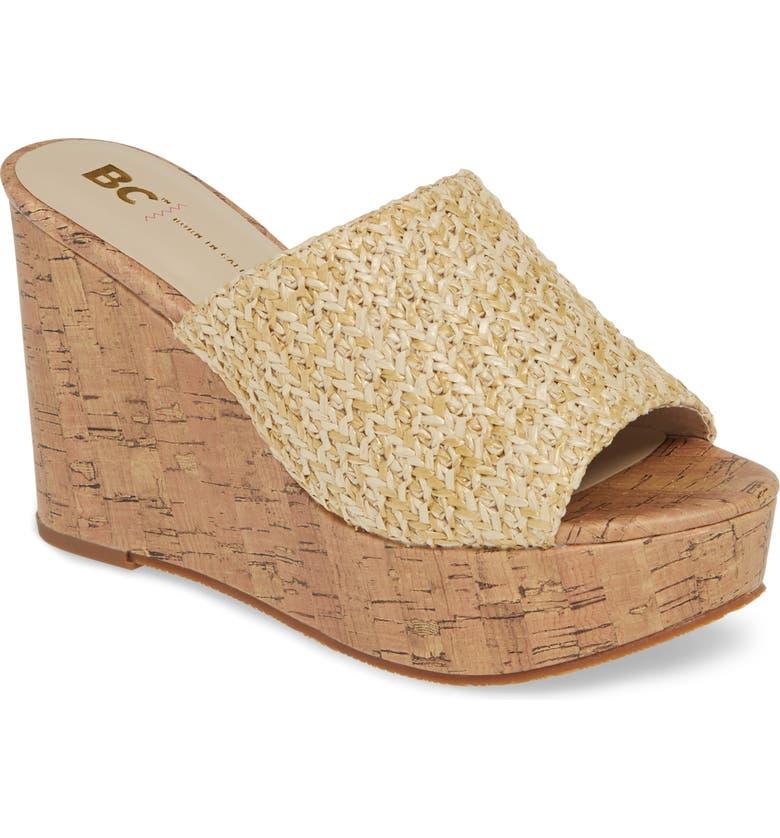 BC FOOTWEAR Perennial Vegan Wedge Sandal, Main, color, NATURAL RAFFIA