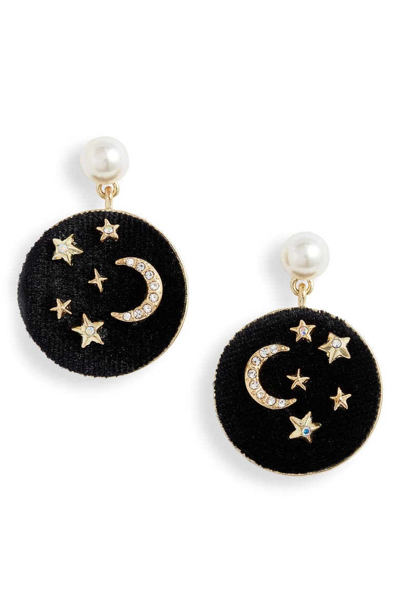 STELLA + RUBY Imitation Pearl Drop Earrings, Main, color, GOLD-BLACK