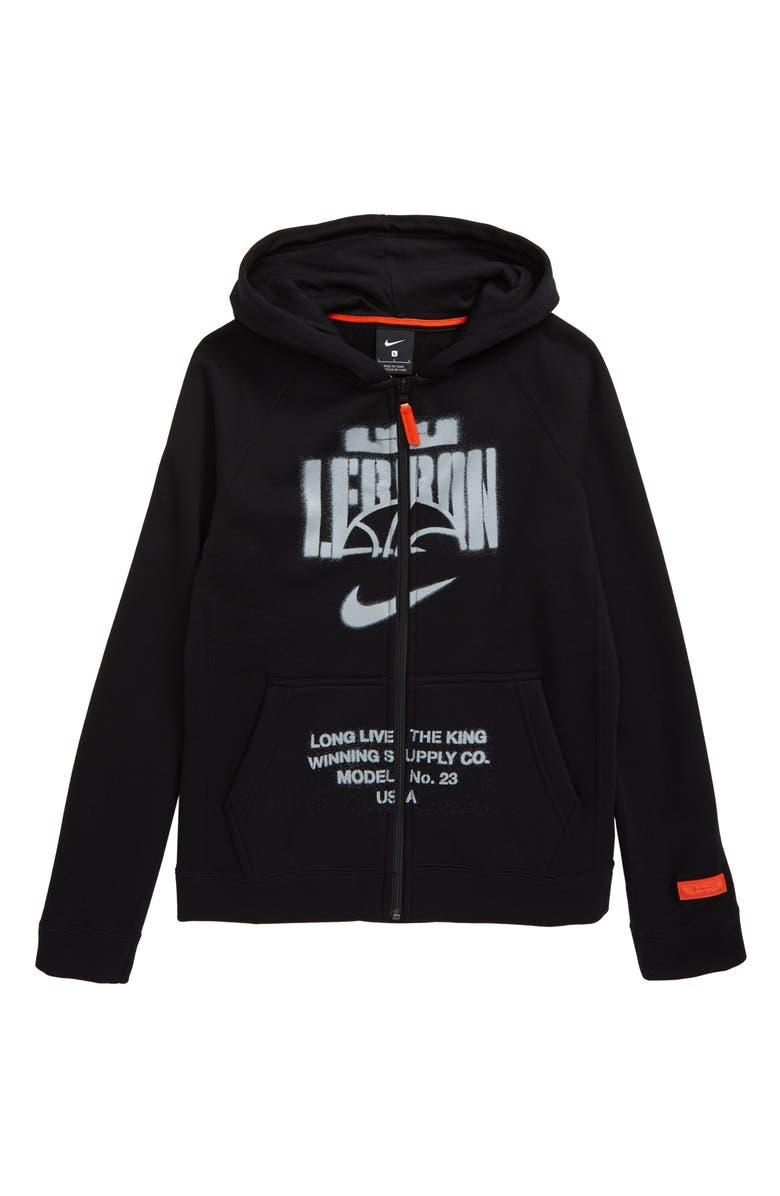 NIKE Lebron Full Zip Hoodie, Main, color, BLACK/ TEAM ORANGE