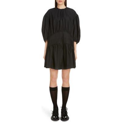 Simone Rocha Pintuck Pleat Cotton Poplin Minidress, US / 12 UK - Black