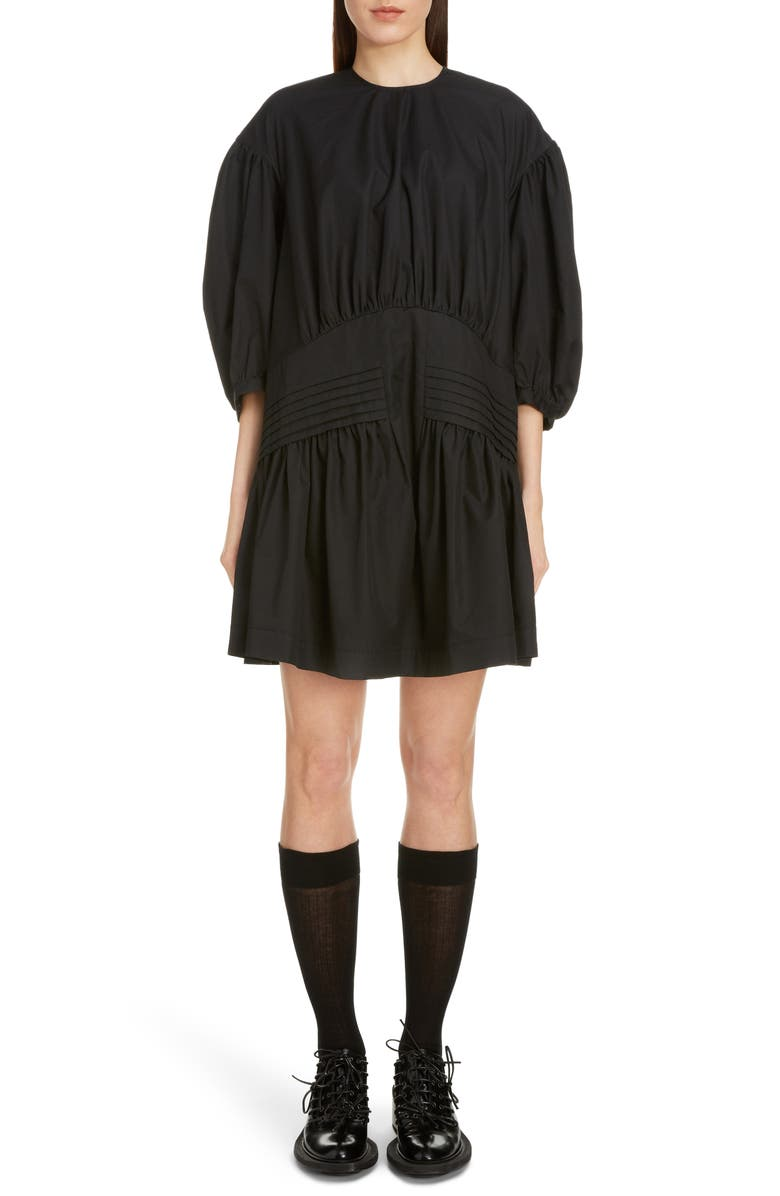 SIMONE ROCHA Pintuck Pleat Cotton Poplin Minidress, Main, color, BLACK