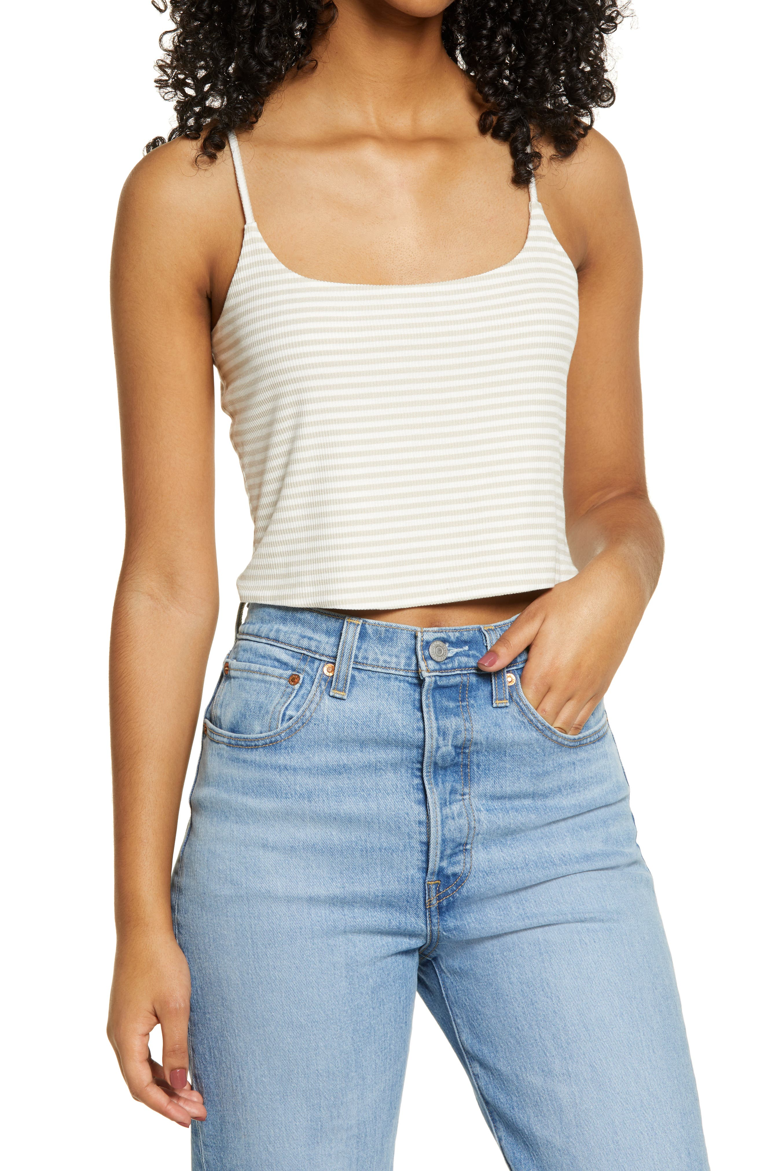 Image of BP. Stripe Rib Knit Cropped Camisole