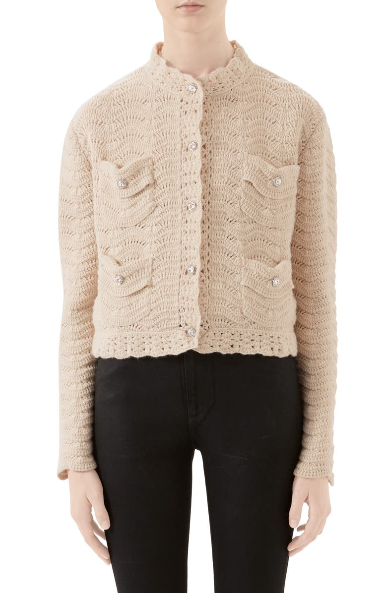 GUCCI Jewel Button Crochet Wool Sweater Jacket, Main, color, IVORY
