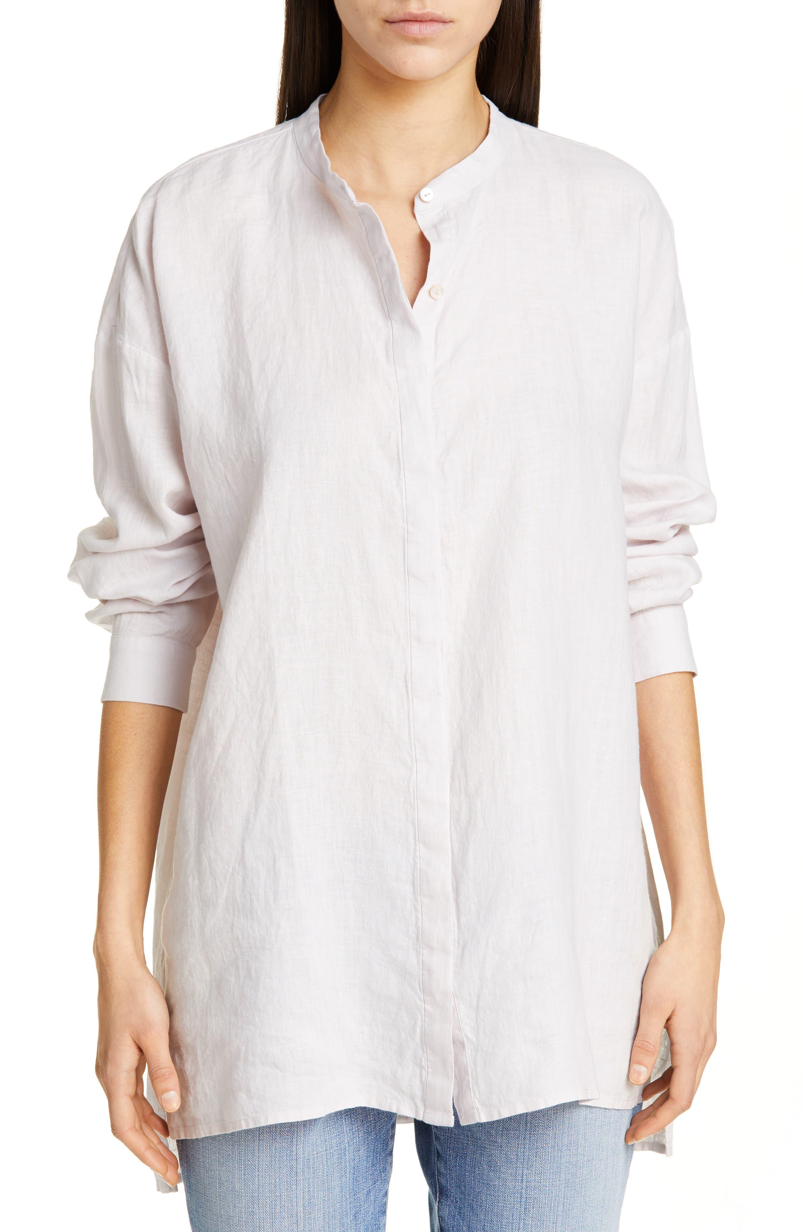 women's eileen fisher organic linen tunic shirt, size x-small - purple