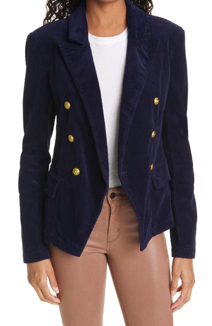 Image of L'AGENCE Kaydence Corduroy Double Breasted Blazer