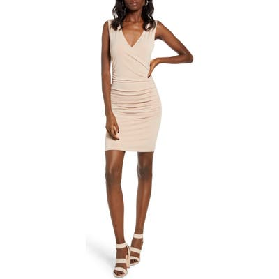 Leith Ruched Wrap Style Sleeveless Minidress, Brown