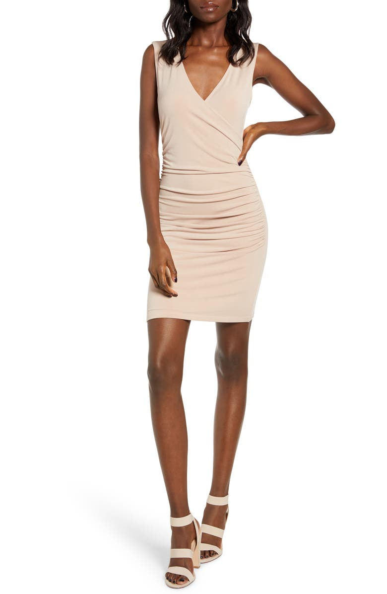 LEITH Ruched Wrap Style Sleeveless Minidress, Main, color, TAN TAUPE