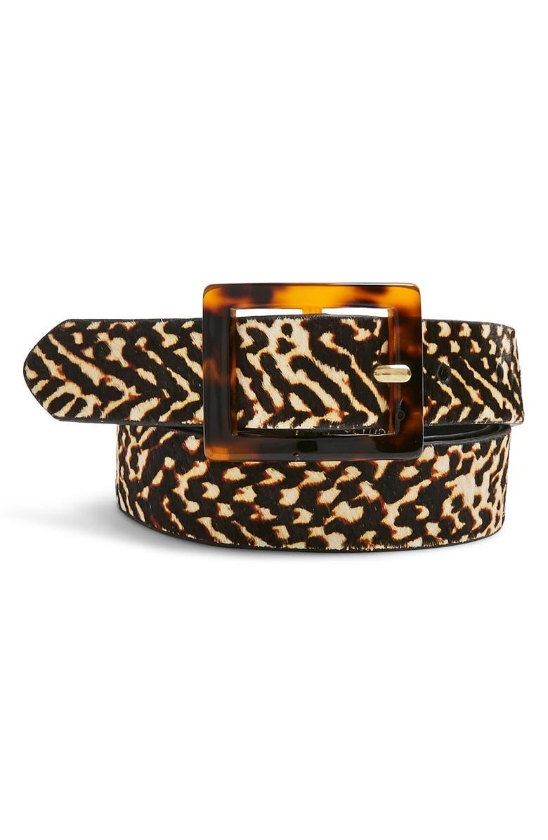 TOPSHOP Tiger Tortiseshell Buckle Genuine Calf Hair Belt, Main, color, BLACK MULTI