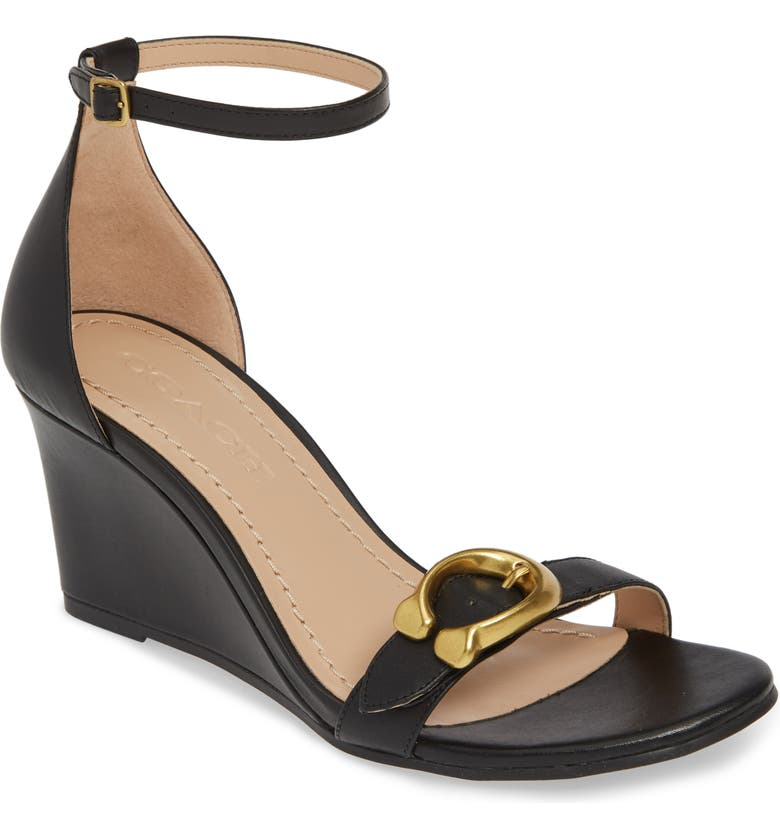 COACH Odetta Wedge Ankle Strap Sandal, Main, color, BLACK LEATHER