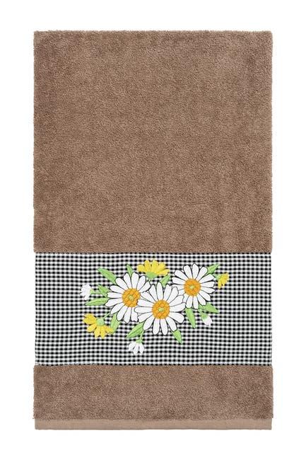 Image of LINUM HOME Daisy Embellished Bath Towel - Latte