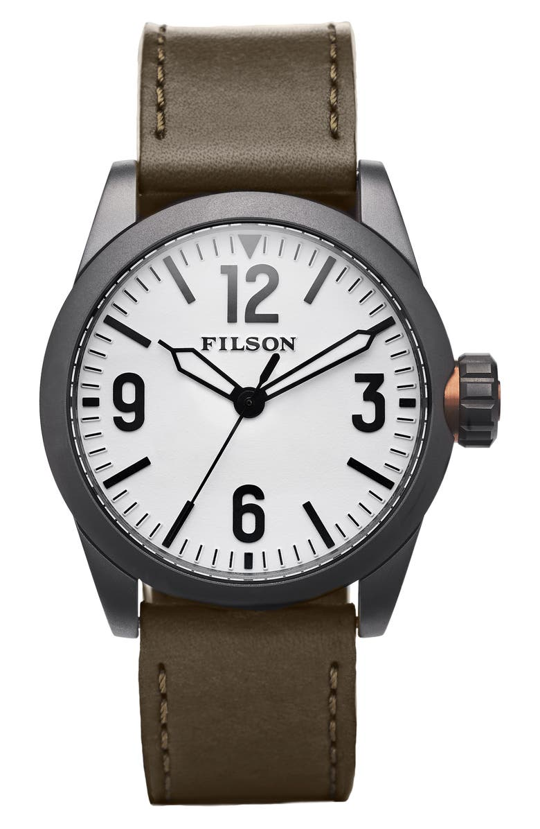 FILSON Field Leather Strap Watch, 42mm, Main, color, 300