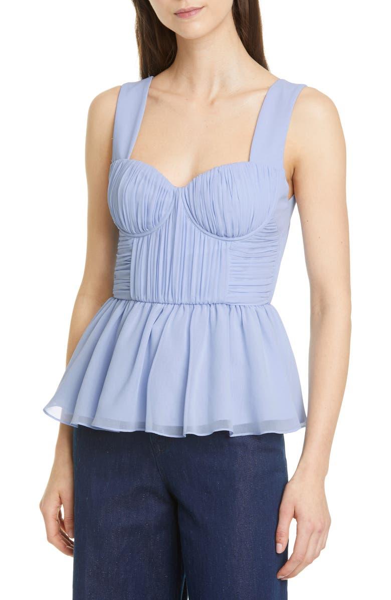 SELF-PORTRAIT Peplum Bustier Chiffon Top, Main, color, LIGHT BLUE