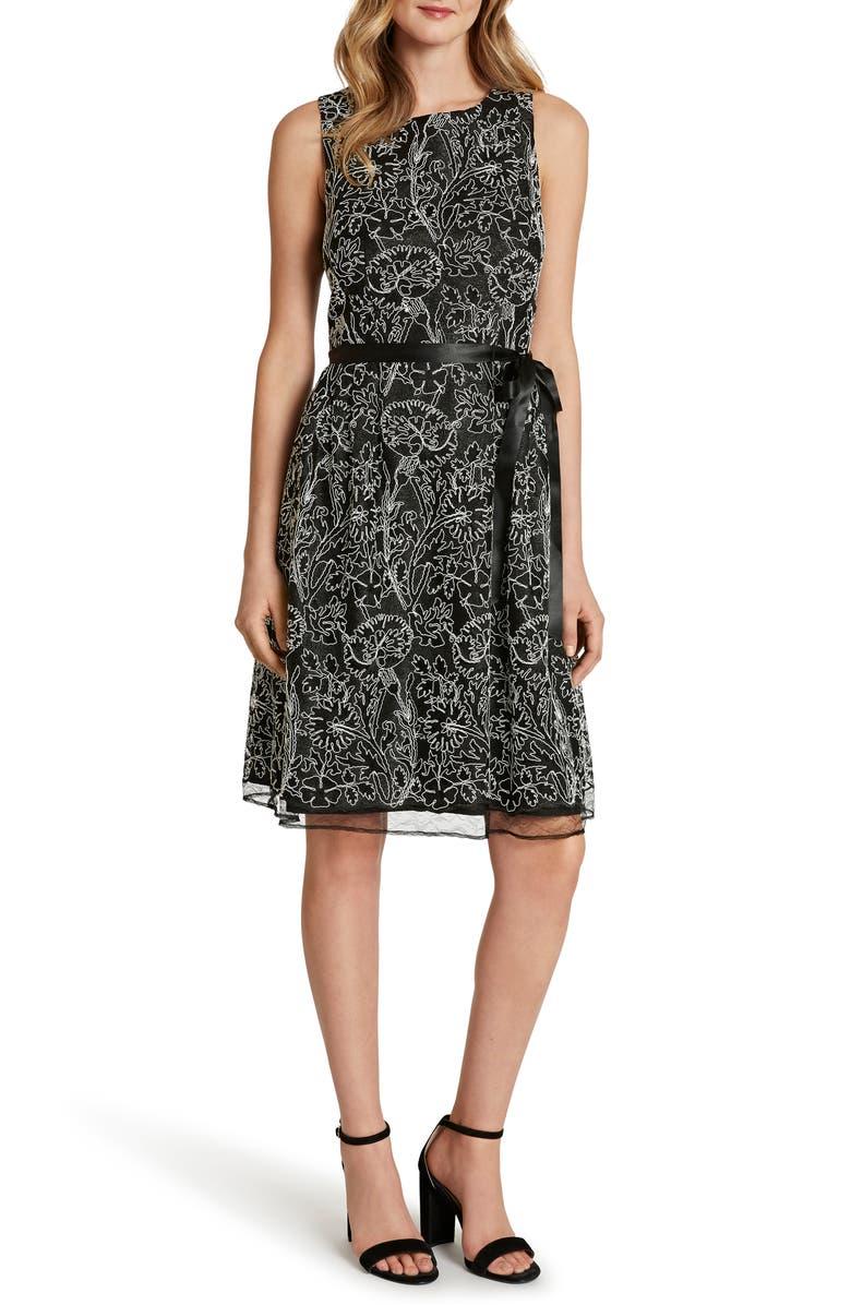 TAHARI Sleeveless Embroidered Lace Dress, Main, color, BLACK/ IVORY