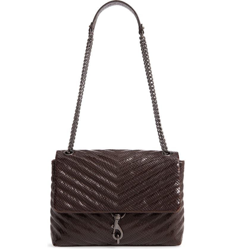 REBECCA MINKOFF Edie Snake Embossed Leather Shoulder Bag, Main, color, 001
