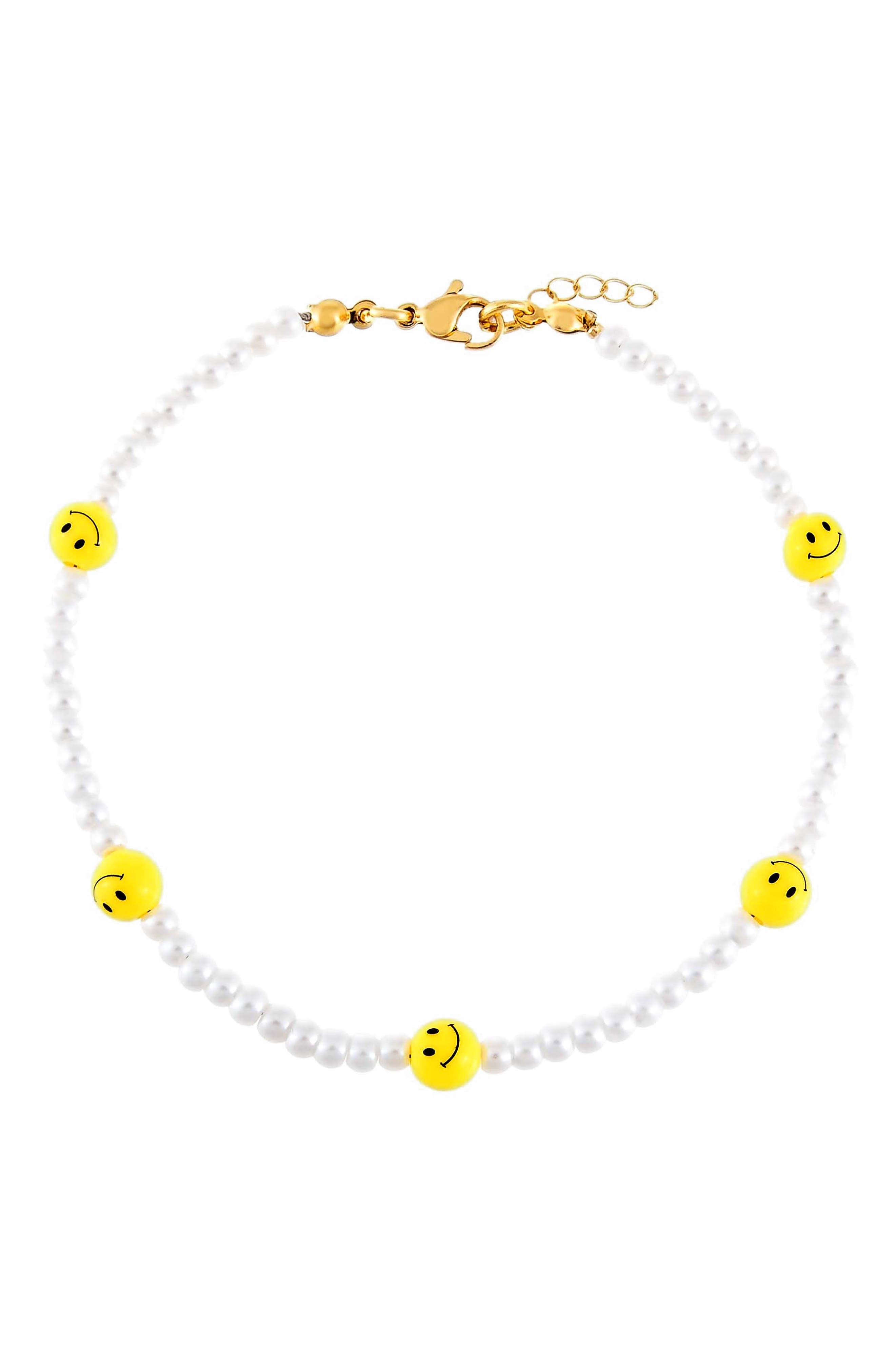 Women's Adina's Jewels Imitation Pearl Smiley Beaded Anklet