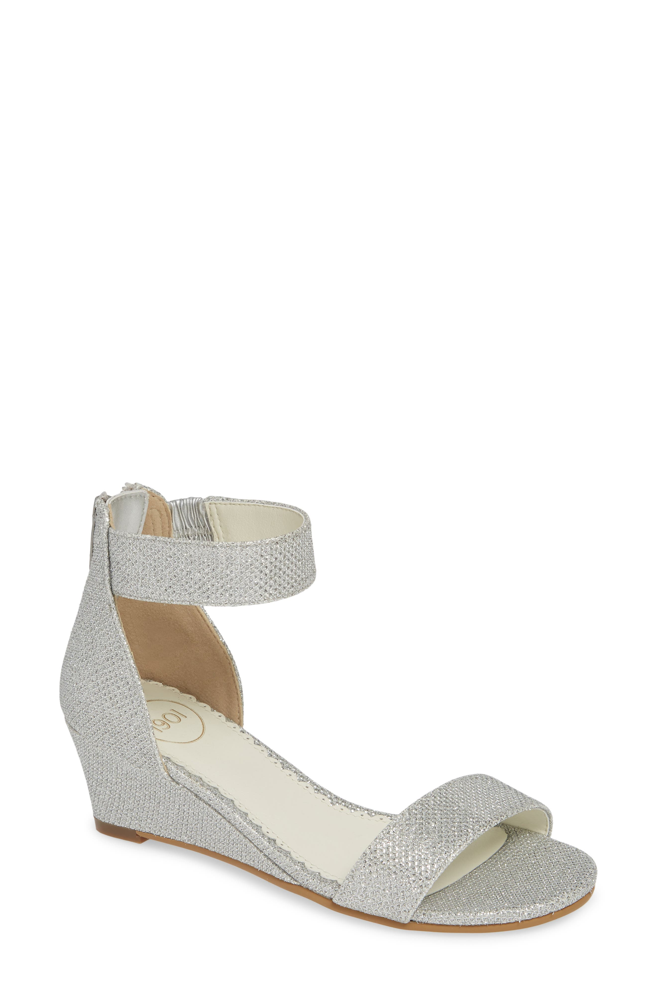 ,                             Cora Glitter Wedge Sandal,                             Main thumbnail 1, color,                             SILVER SHIMMER FAUX LEATHER