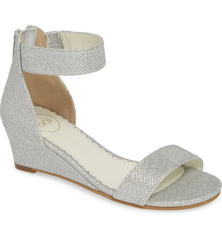 1901 Cora Glitter Wedge Sandal, Main, color, SILVER SHIMMER FAUX LEATHER