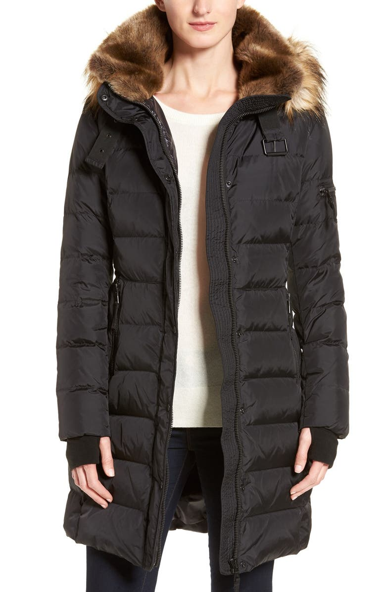 S13 'Uptown' Quilted Coat with Faux Fur Trim, Main, color, 001
