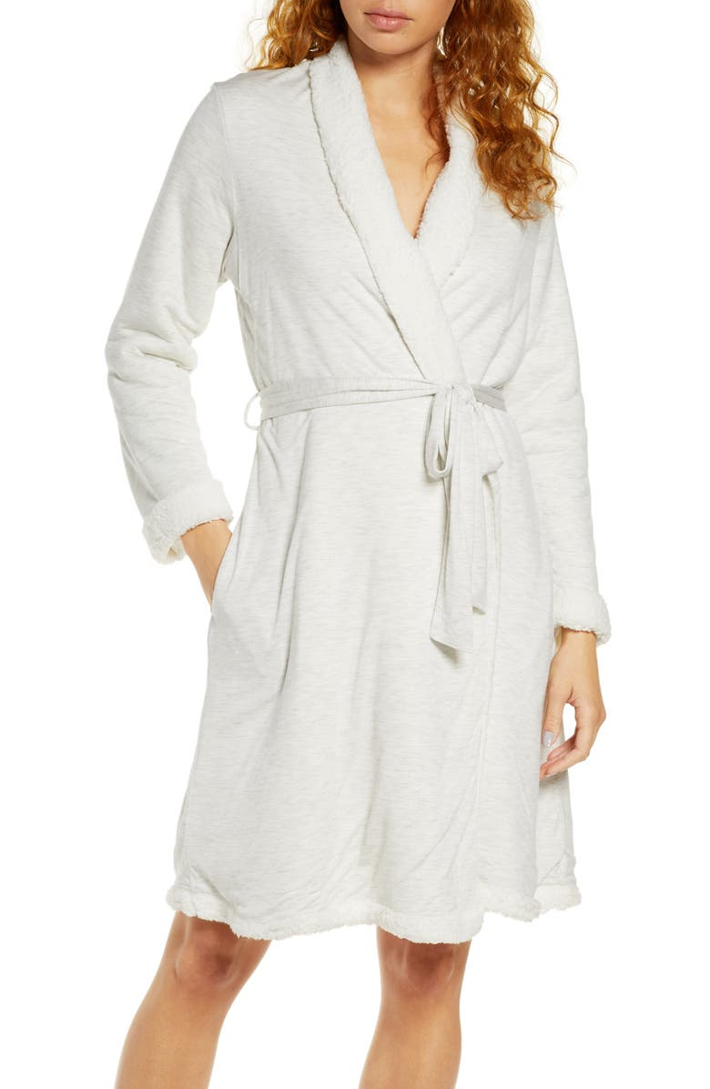 EBERJEY Alpine Chic Faux Shearling Trim Robe, Main, color, LTHGR