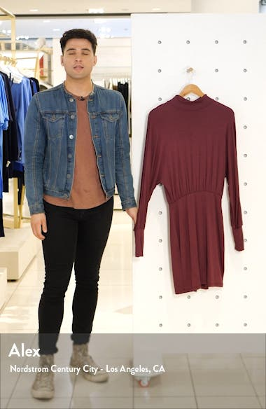 Turtleneck Long Sleeve Blouson Knit Dress, sales video thumbnail