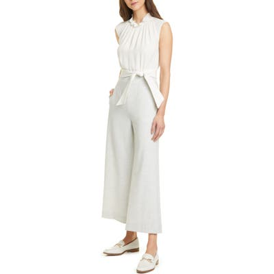 Tailored By Rebecca Taylor Mix Media Sleeveless Jumpsuit
