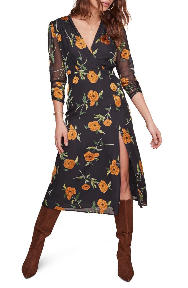 ASTR THE LABEL Joni Midi Dress, Main, color, ORANGE BLOSSOM FLORAL