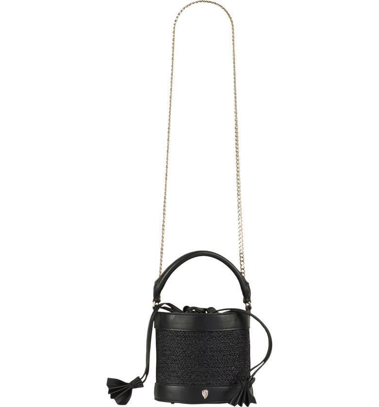 HELEN KAMINSKI Mini Raffia Bucket Bag, Main, color, CHARCOAL/ BLACK