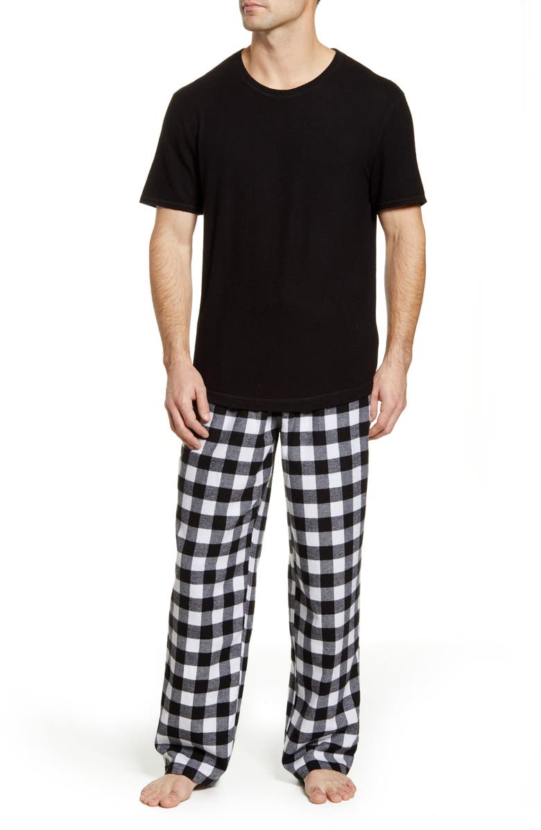 RACHEL PARCELL Hacci & Flannel Pajamas, Main, color, BLACK- WHITE BUFFALO CHECK
