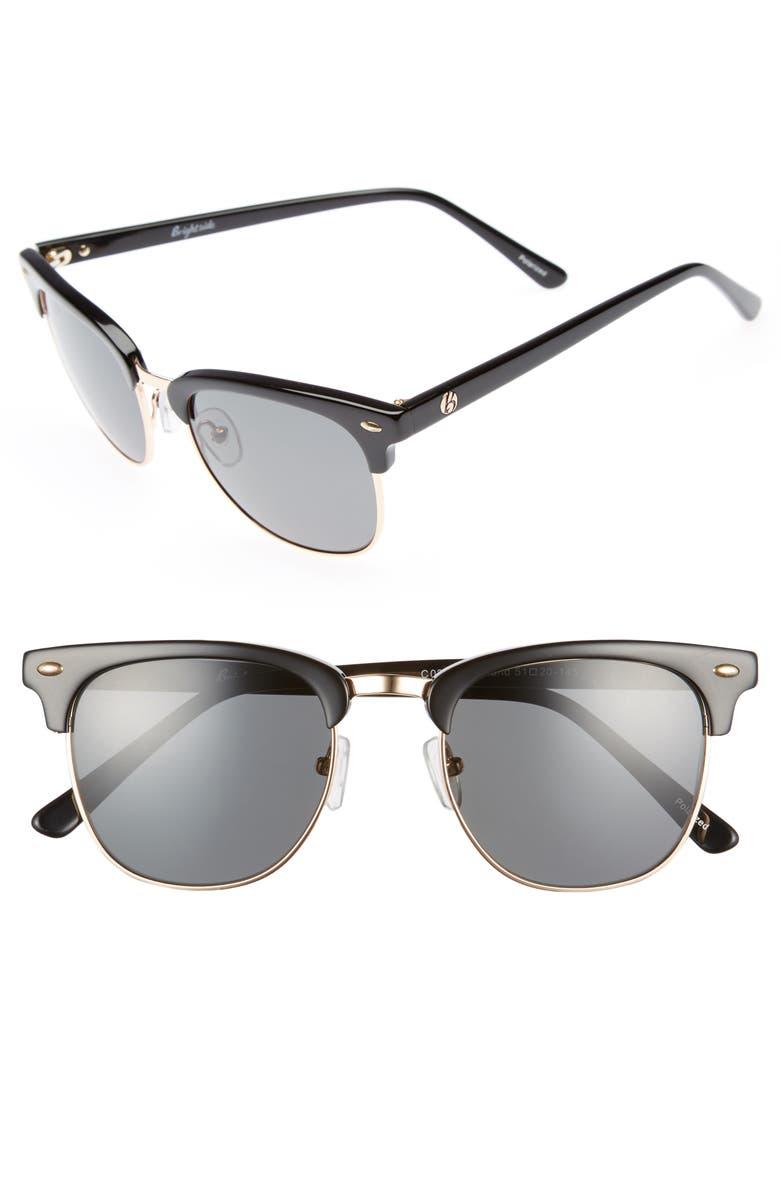 BRIGHTSIDE Copeland 51mm Polarized Sunglasses, Main, color, BLACK/ GREY POLAR