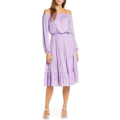 Lilly Pulitzer Jennie Long Sleeve Off The Shoulder Dress, Purple