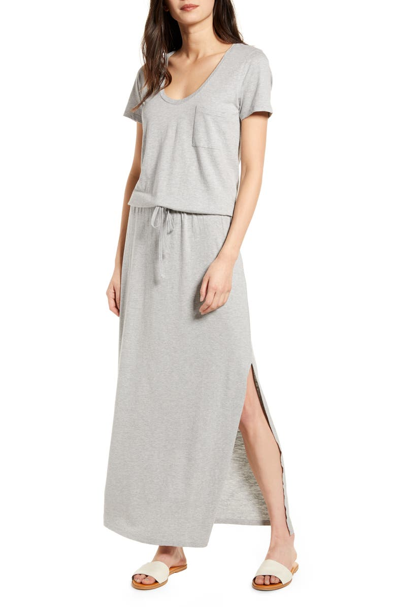 CASLON<SUP>®</SUP> Cotton Blend Maxi Dress, Main, color, GREY HEATHER