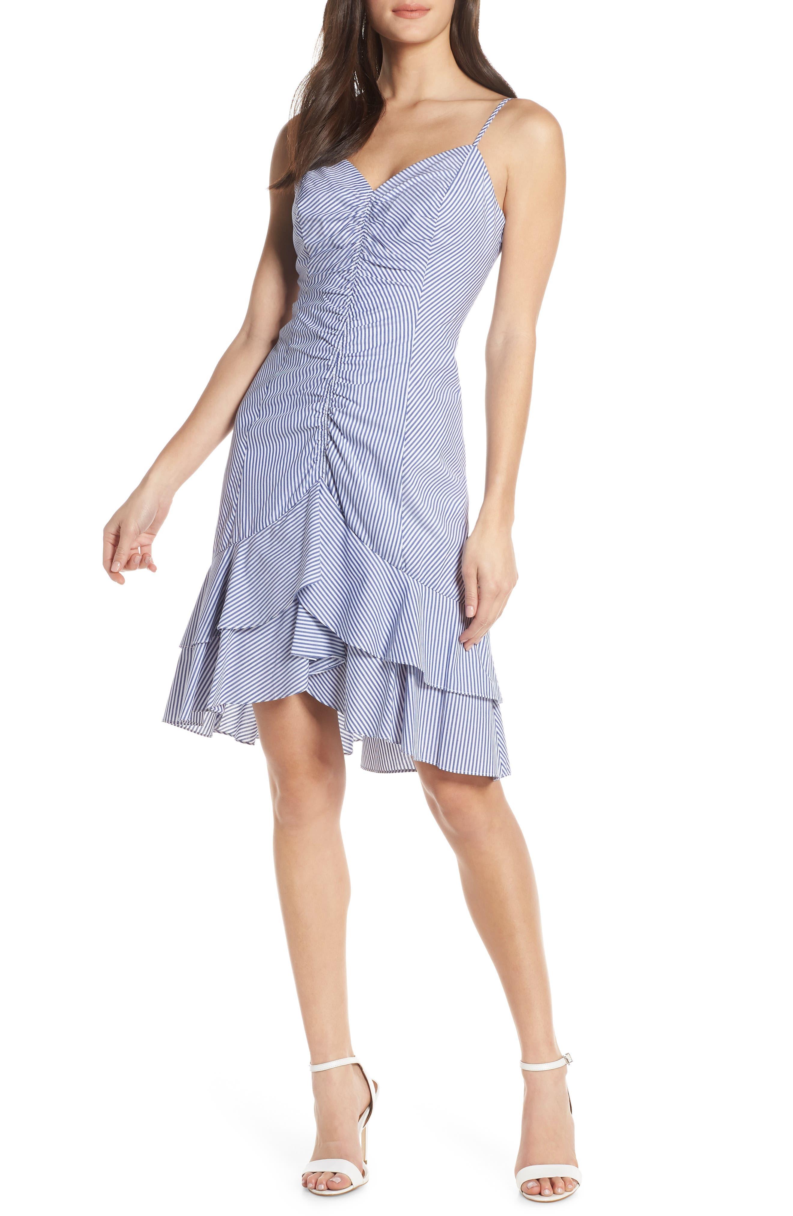 Petite Chelsea28 Stripe Ruched Cotton Dress, Blue