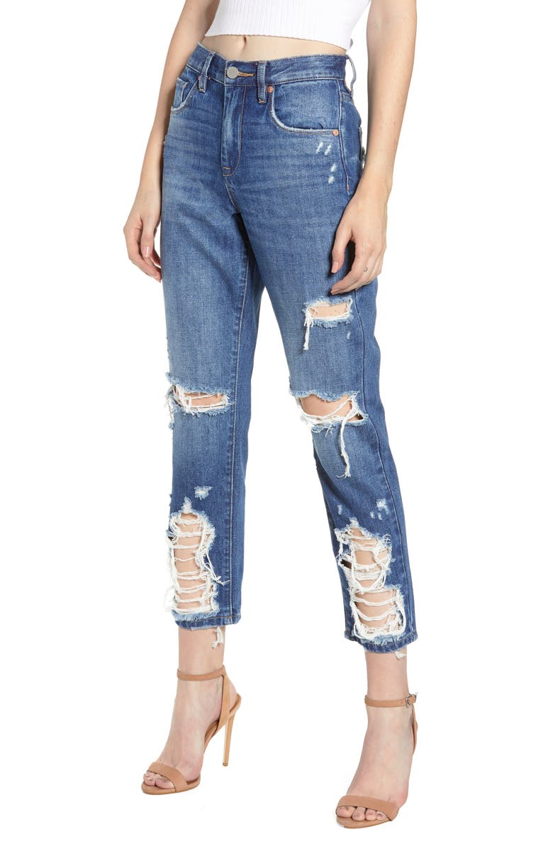 BLANKNYC Ripped Crop Mom Jeans, Main, color, PEOPLES CHAMP