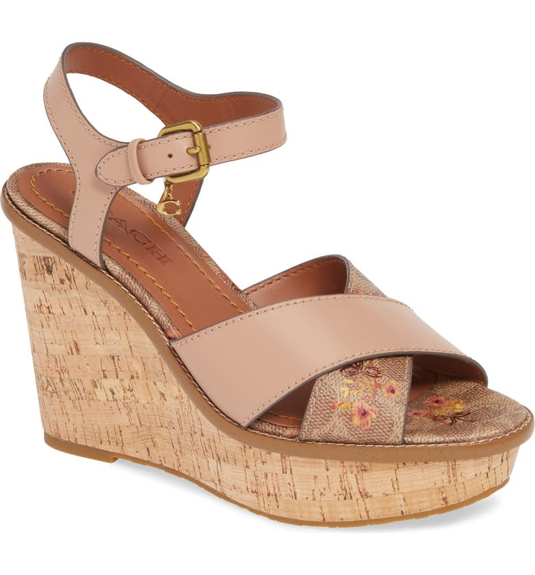 COACH Cross Band Wedge Sandal, Main, color, 250