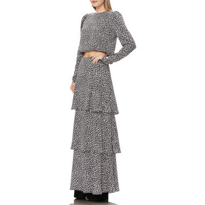 Afrm Sabine Tiered Maxi Skirt, Black